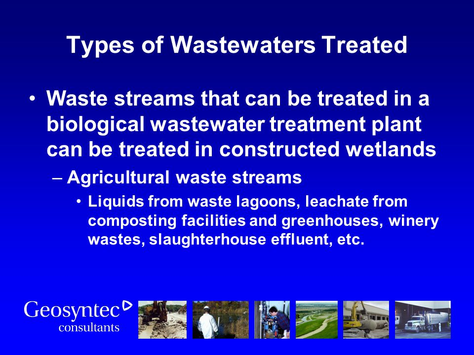 Types of Wastewaters Treated Waste streams that can be treated in a biological wastewater treatment plant can be treated in constructed wetlands –Agri
