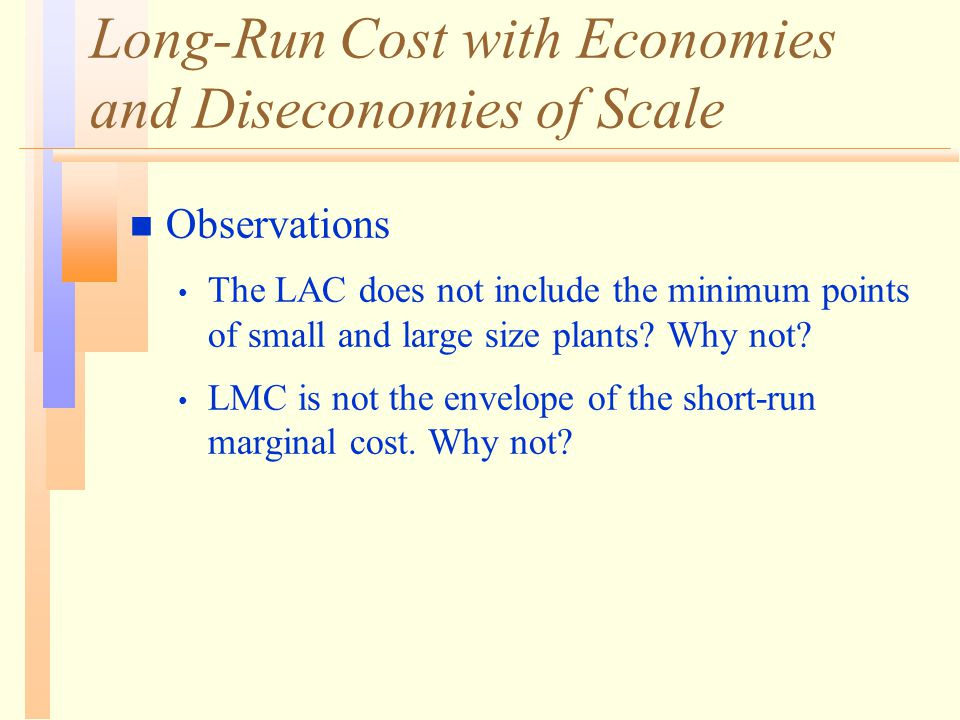 Long-Run Cost with Economies and Diseconomies of Scale n Observations The LAC does not include the minimum points of small and large size plants.