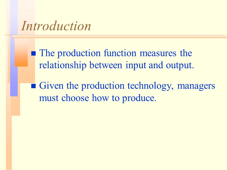 Introduction n The production function measures the relationship between input and output.
