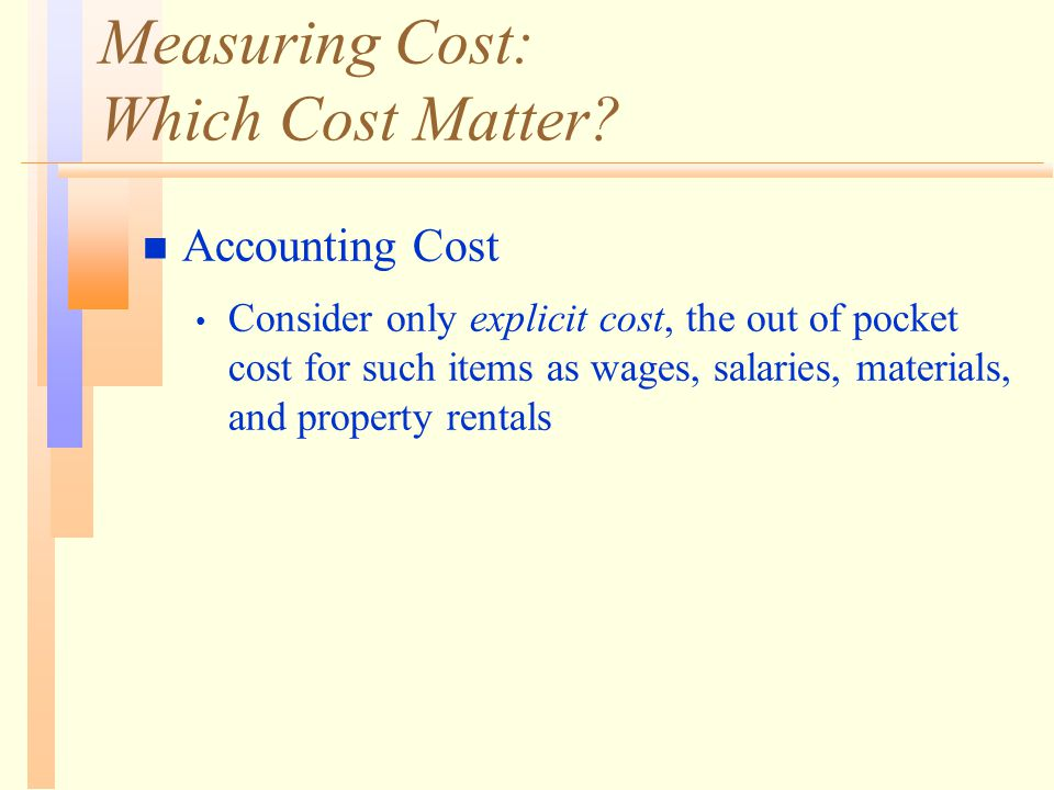 Measuring Cost: Which Cost Matter.