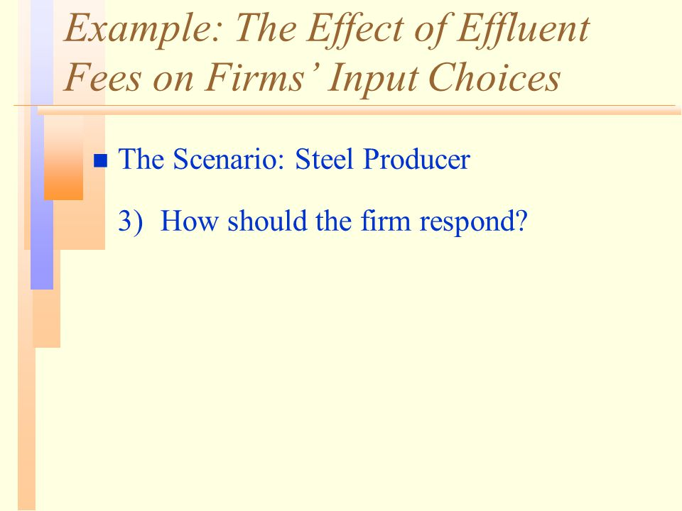 Example: The Effect of Effluent Fees on Firms' Input Choices n The Scenario: Steel Producer 3)How should the firm respond