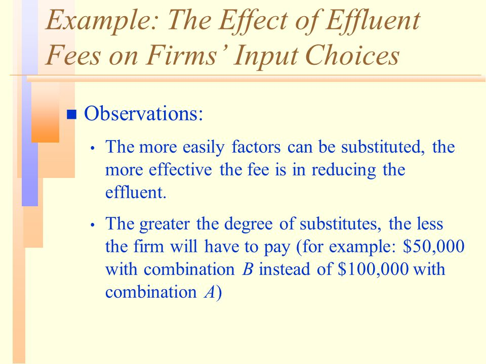 Example: The Effect of Effluent Fees on Firms' Input Choices n Observations: The more easily factors can be substituted, the more effective the fee is in reducing the effluent.