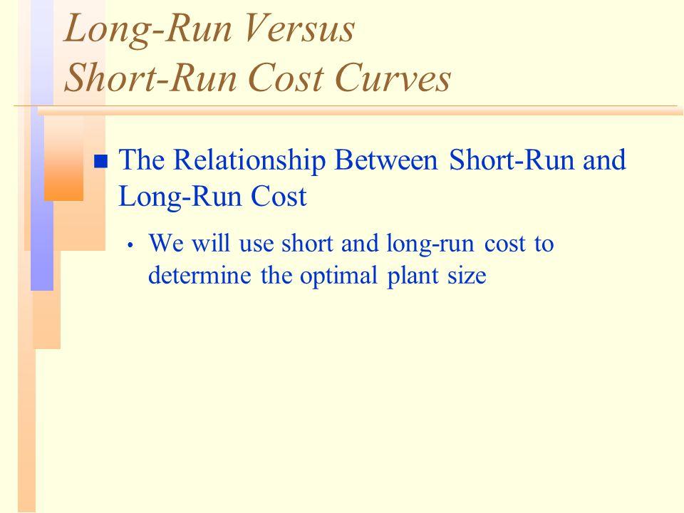 Long-Run Versus Short-Run Cost Curves n The Relationship Between Short-Run and Long-Run Cost We will use short and long-run cost to determine the optimal plant size