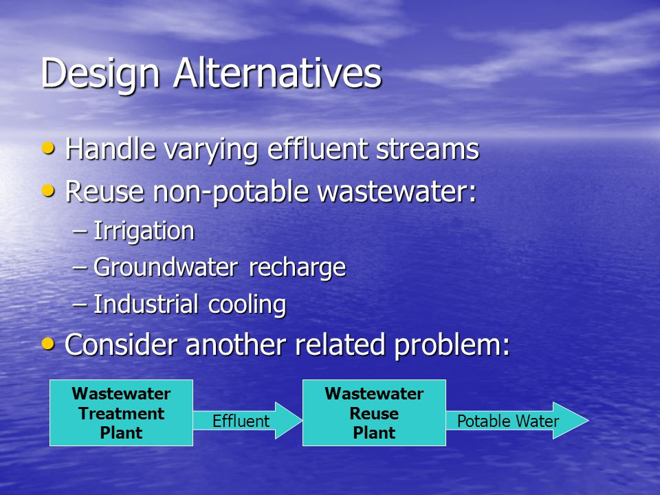 Design Alternatives Handle varying effluent streams Handle varying effluent streams Reuse non-potable wastewater: Reuse non-potable wastewater: –Irrigation –Groundwater recharge –Industrial cooling Consider another related problem: Consider another related problem: Wastewater Treatment Plant Effluent Wastewater Reuse Plant Potable Water