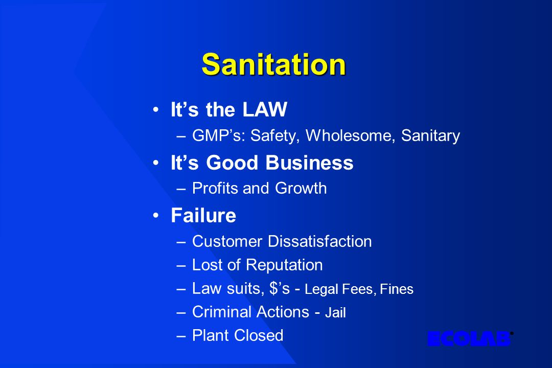 Sanitation It's the LAW –GMP's: Safety, Wholesome, Sanitary It's Good Business –Profits and Growth Failure –Customer Dissatisfaction –Lost of Reputation –Law suits, $'s - Legal Fees, Fines –Criminal Actions - Jail –Plant Closed