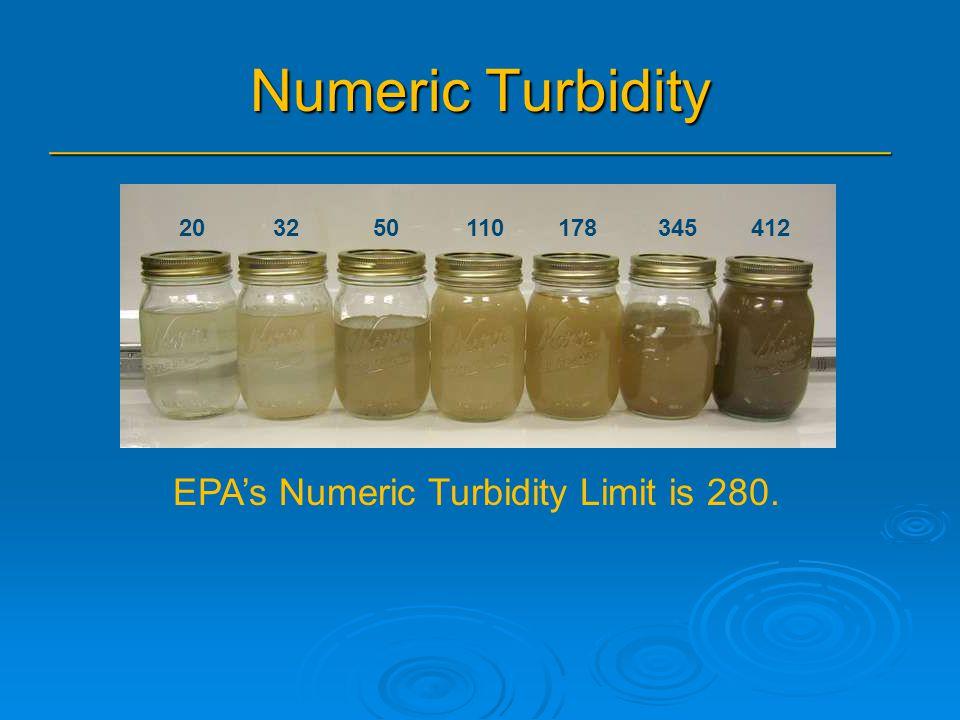 Numeric Turbidity _______________________________________________ 20 32 50 110 178 345 412 EPA's Numeric Turbidity Limit is 280.
