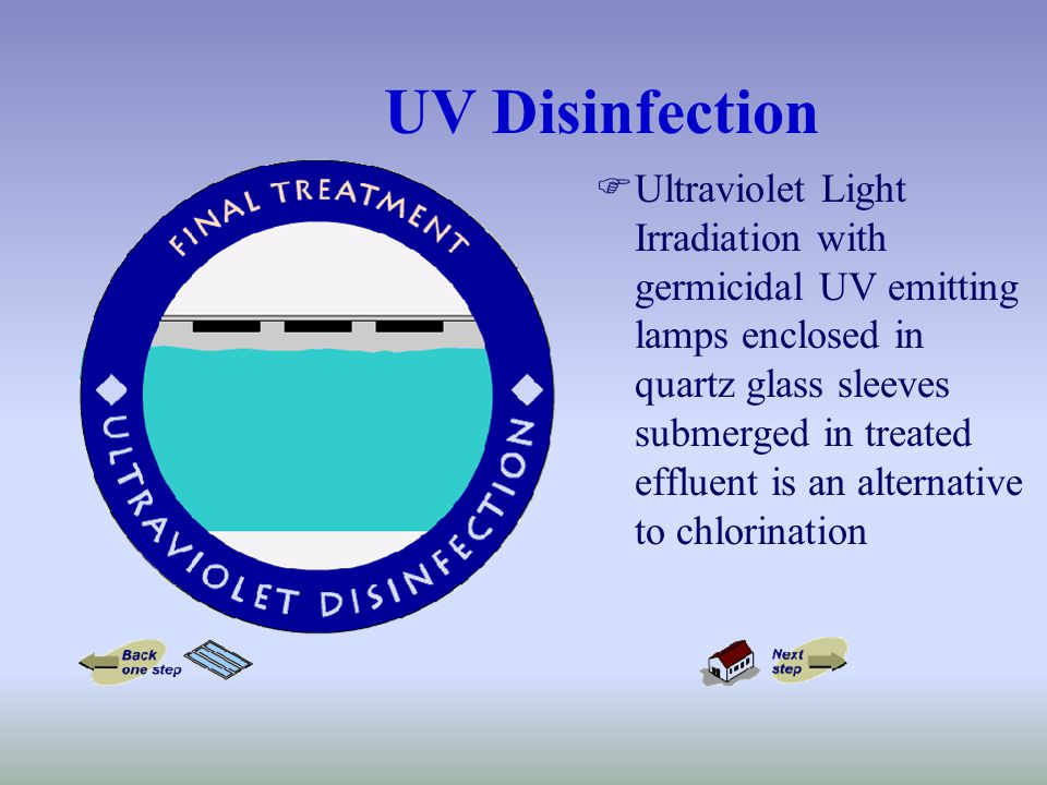 UV Disinfection FUltraviolet Light Irradiation with germicidal UV emitting lamps enclosed in quartz glass sleeves submerged in treated effluent is an alternative to chlorination