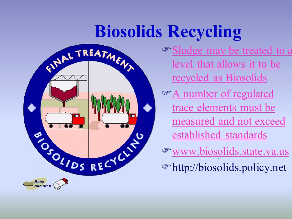 Biosolids Recycling FSludge may be treated to a level that allows it to be recycled as BiosolidsSludge may be treated to a level that allows it to be recycled as Biosolids FA number of regulated trace elements must be measured and not exceed established standardsA number of regulated trace elements must be measured and not exceed established standards Fwww.biosolids.state.va.uswww.biosolids.state.va.us Fhttp://biosolids.policy.net