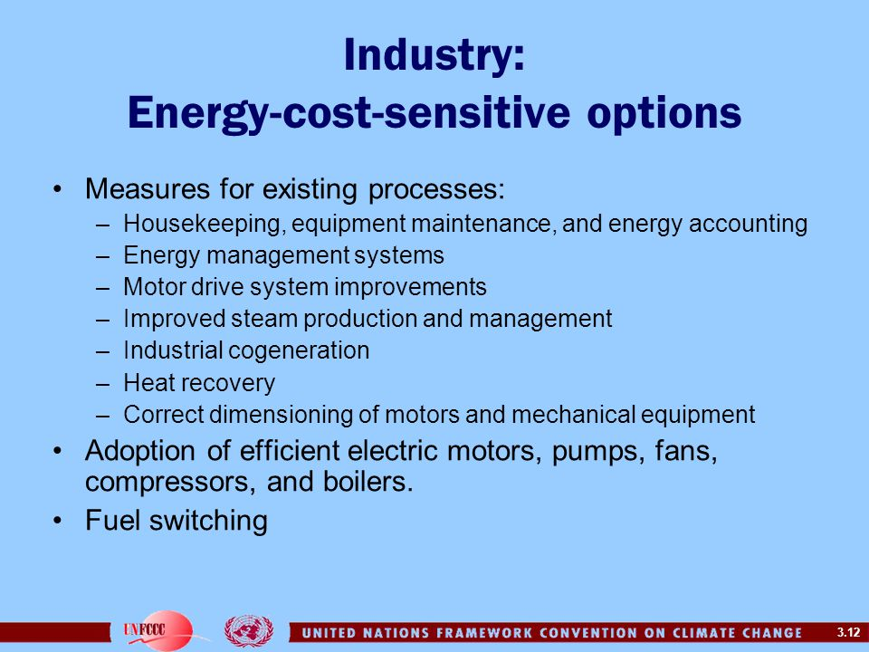 3.12 Industry: Energy-cost-sensitive options Measures for existing processes: –Housekeeping, equipment maintenance, and energy accounting –Energy management systems –Motor drive system improvements –Improved steam production and management –Industrial cogeneration –Heat recovery –Correct dimensioning of motors and mechanical equipment Adoption of efficient electric motors, pumps, fans, compressors, and boilers.