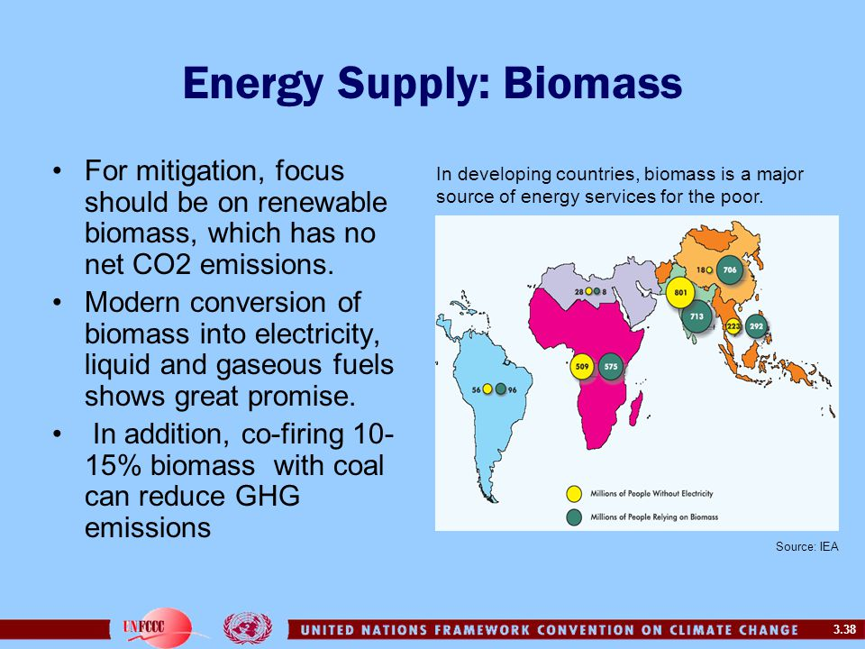 3.38 Energy Supply: Biomass For mitigation, focus should be on renewable biomass, which has no net CO2 emissions.