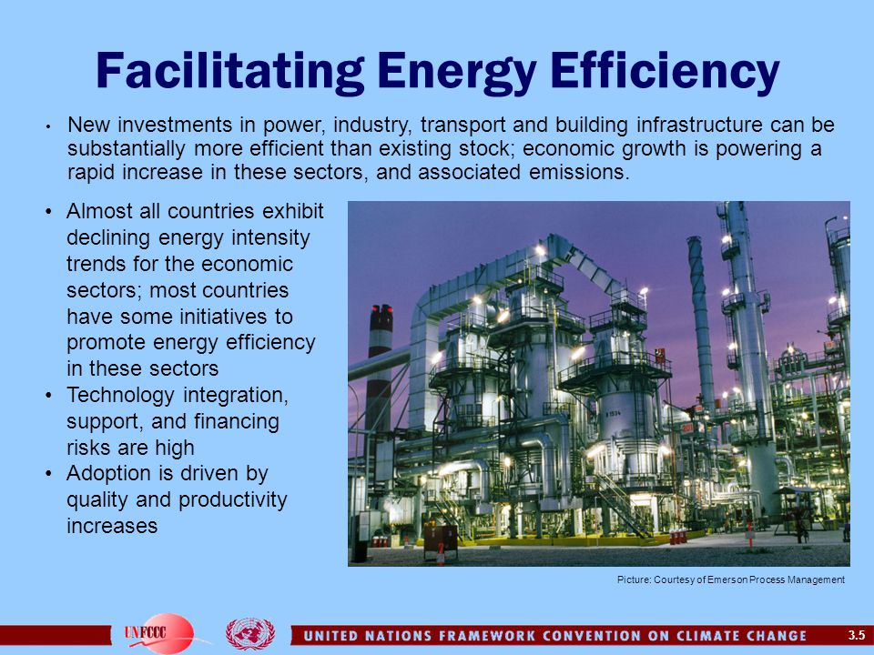 3.5 Facilitating Energy Efficiency Almost all countries exhibit declining energy intensity trends for the economic sectors; most countries have some initiatives to promote energy efficiency in these sectors Technology integration, support, and financing risks are high Adoption is driven by quality and productivity increases New investments in power, industry, transport and building infrastructure can be substantially more efficient than existing stock; economic growth is powering a rapid increase in these sectors, and associated emissions.