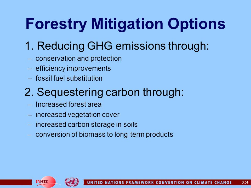 3.51 Forestry Mitigation Options 1. Reducing GHG emissions through: –conservation and protection –efficiency improvements –fossil fuel substitution 2.