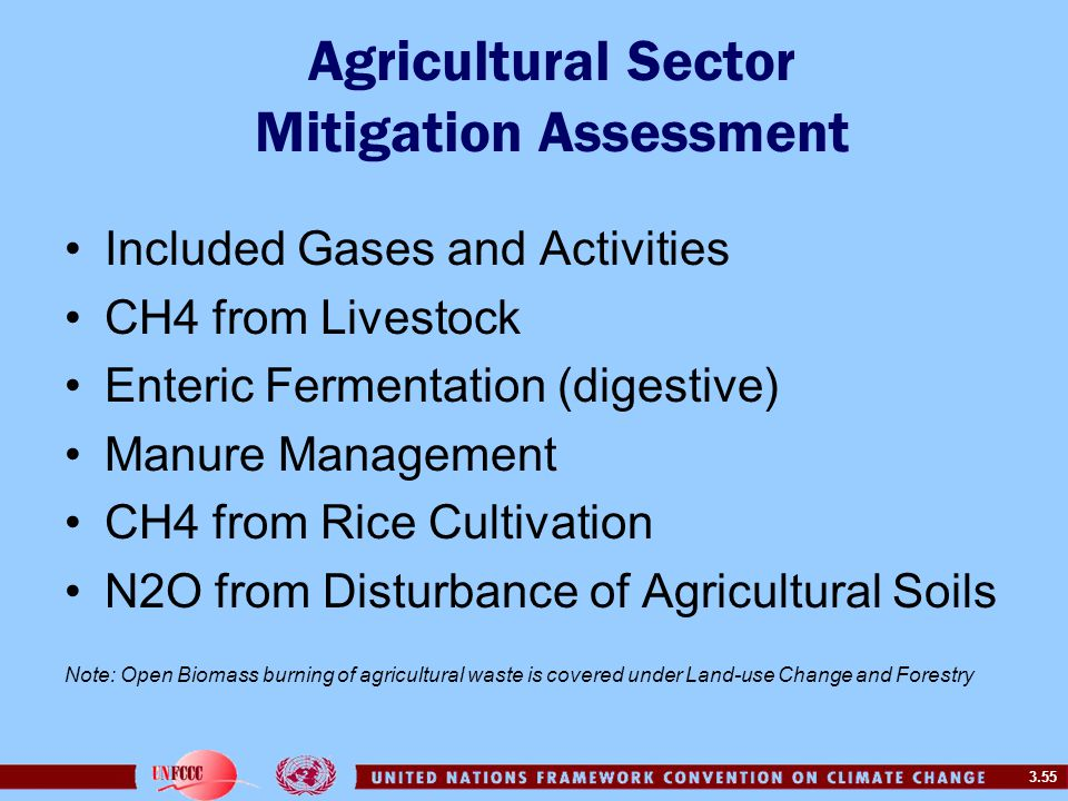 3.55 Agricultural Sector Mitigation Assessment Included Gases and Activities CH4 from Livestock Enteric Fermentation (digestive) Manure Management CH4