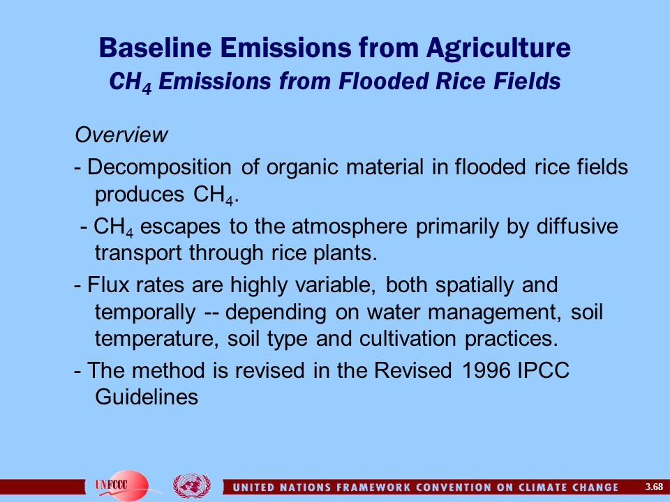 3.68 Baseline Emissions from Agriculture CH 4 Emissions from Flooded Rice Fields Overview - Decomposition of organic material in flooded rice fields produces CH 4.