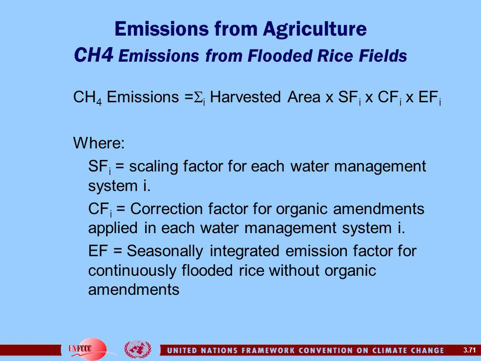 3.71 Emissions from Agriculture CH4 Emissions from Flooded Rice Fields CH 4 Emissions =  i Harvested Area x SF i x CF i x EF i Where: SF i = scaling