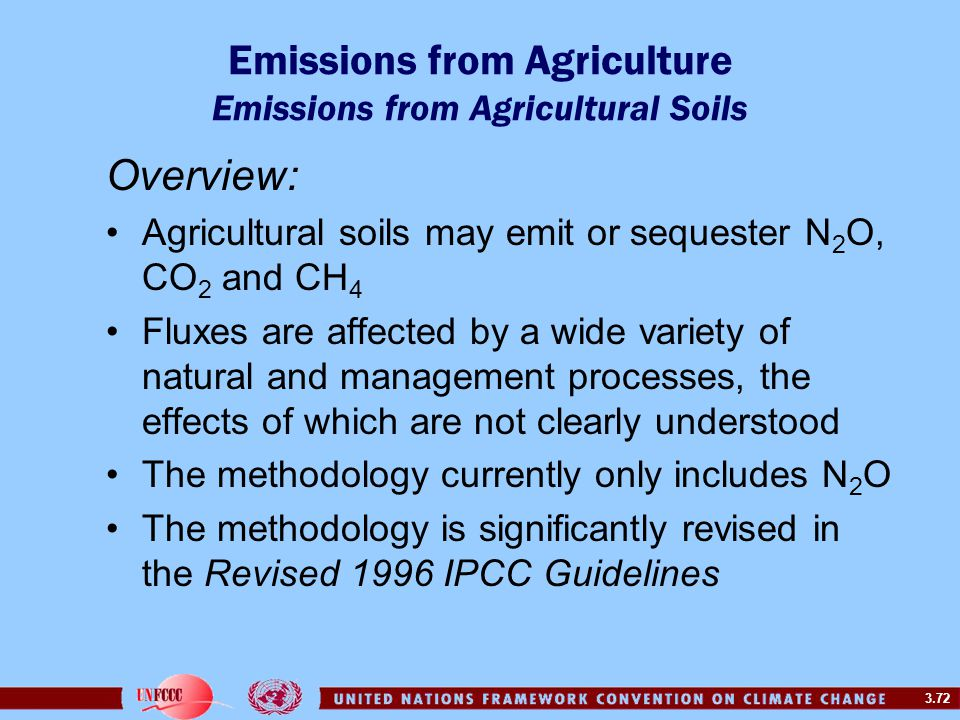 3.72 Emissions from Agriculture Emissions from Agricultural Soils Overview: Agricultural soils may emit or sequester N 2 O, CO 2 and CH 4 Fluxes are affected by a wide variety of natural and management processes, the effects of which are not clearly understood The methodology currently only includes N 2 O The methodology is significantly revised in the Revised 1996 IPCC Guidelines