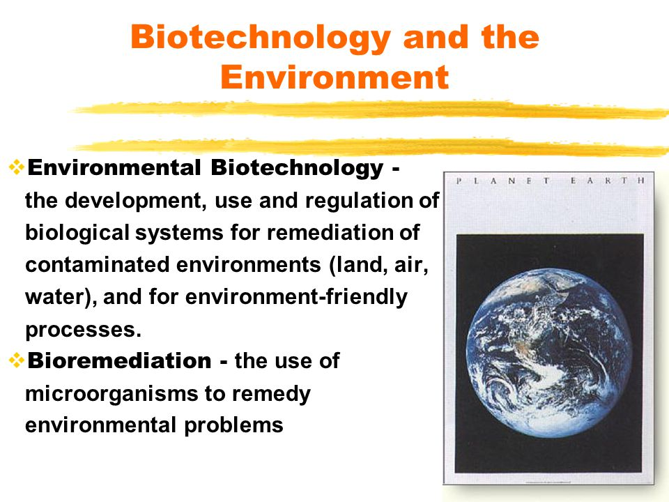  Environmental Biotechnology - the development, use and regulation of biological systems for remediation of contaminated environments (land, air, wat