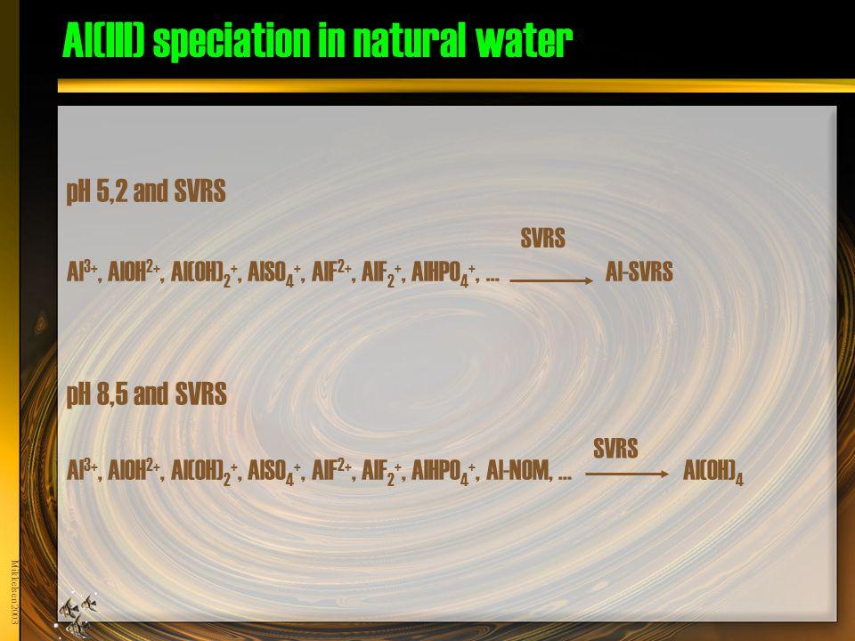 Mikkelsen 2003 Al(III) speciation in natural water pH 5,2 and SVRS Al 3+, AlOH 2+, Al(OH) 2 +, AlSO 4 +, AlF 2+, AlF 2 +, AlHPO 4 +, … Al-SVRS SVRS pH 8,5 and SVRS Al 3+, AlOH 2+, Al(OH) 2 +, AlSO 4 +, AlF 2+, AlF 2 +, AlHPO 4 +, Al-NOM, … Al(OH) 4 SVRS