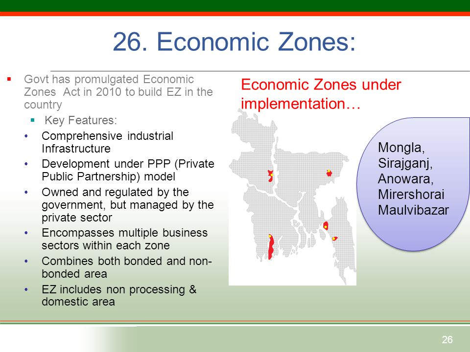 26  Govt has promulgated Economic Zones Act in 2010 to build EZ in the country  Key Features: Comprehensive industrial Infrastructure Development under PPP (Private Public Partnership) model Owned and regulated by the government, but managed by the private sector Encompasses multiple business sectors within each zone Combines both bonded and non- bonded area EZ includes non processing & domestic area Economic Zones under implementation… Mongla, Sirajganj, Anowara, Mirershorai Maulvibazar 26.