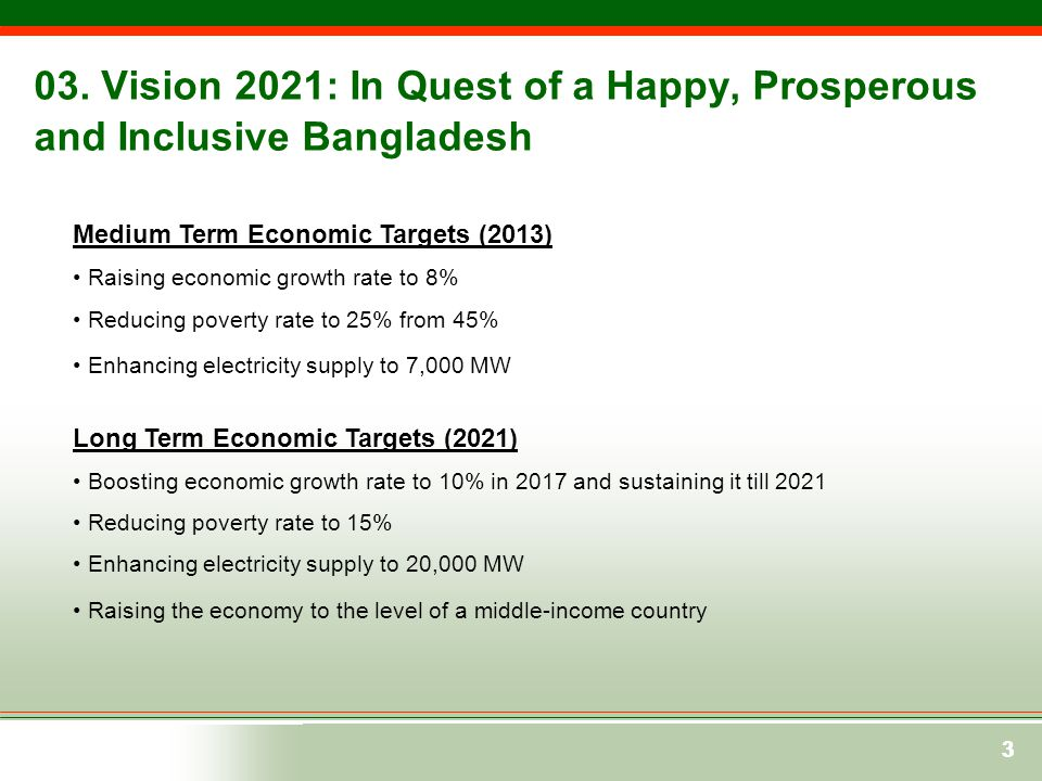 333 03. Vision 2021: In Quest of a Happy, Prosperous and Inclusive Bangladesh Medium Term Economic Targets (2013) Raising economic growth rate to 8% R