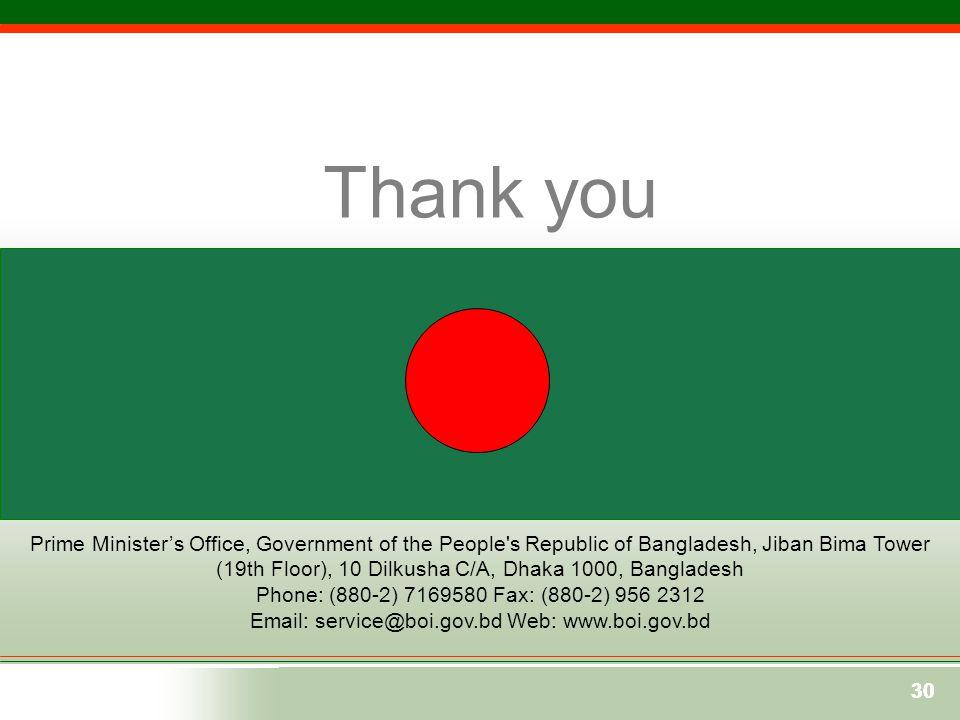 30 Prime Minister's Office, Government of the People's Republic of Bangladesh, Jiban Bima Tower (19th Floor), 10 Dilkusha C/A, Dhaka 1000, Bangladesh