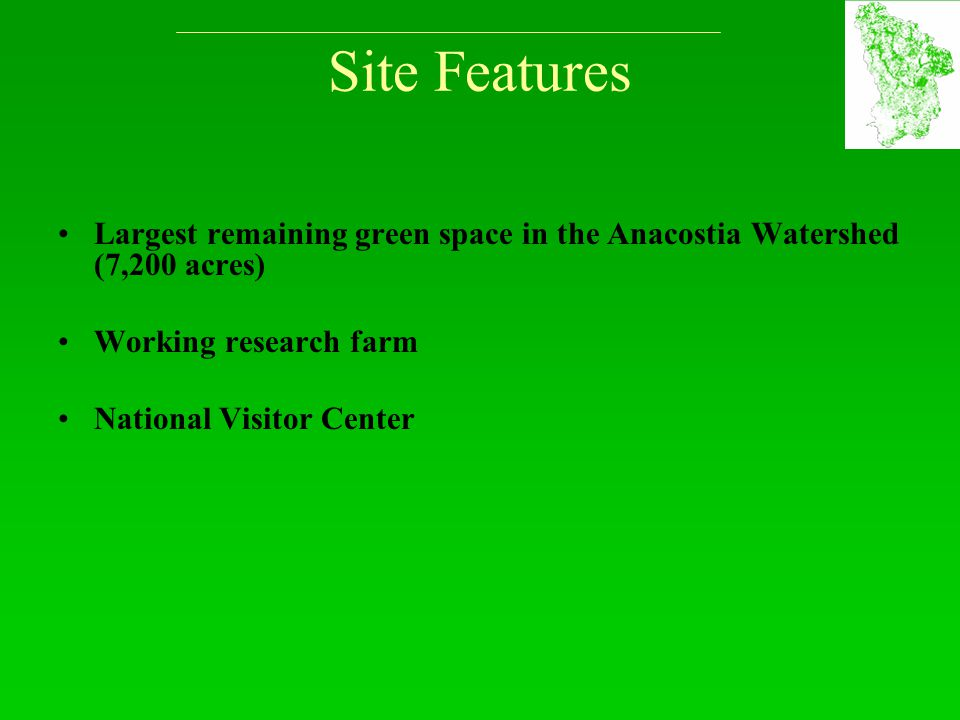 Site Features Largest remaining green space in the Anacostia Watershed (7,200 acres) Working research farm National Visitor Center