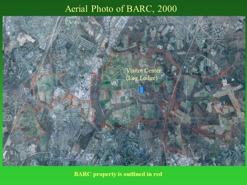 Aerial Photo of BARC, 2000 Visitor Center (Log Lodge) BARC property is outlined in red