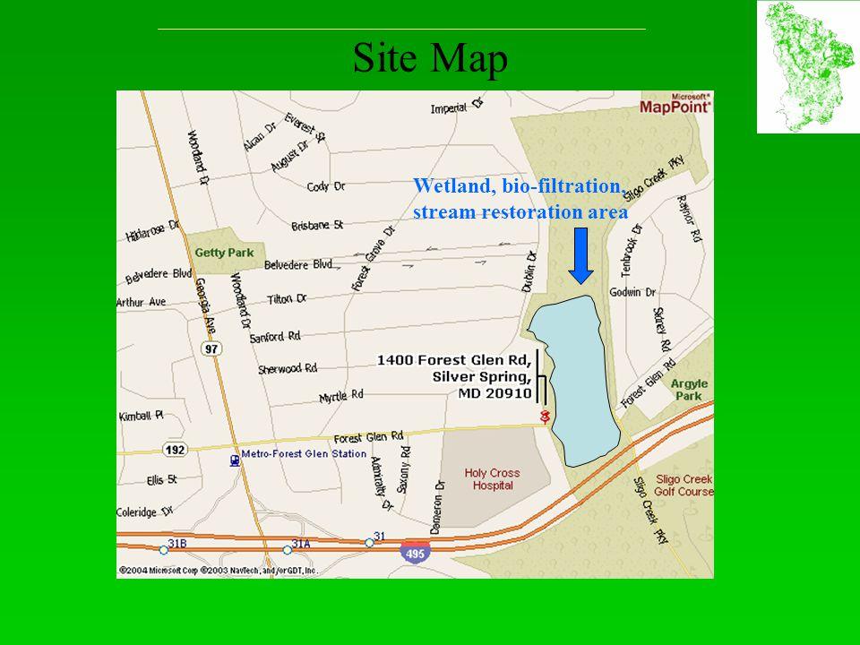 Site Map Wetland, bio-filtration, stream restoration area