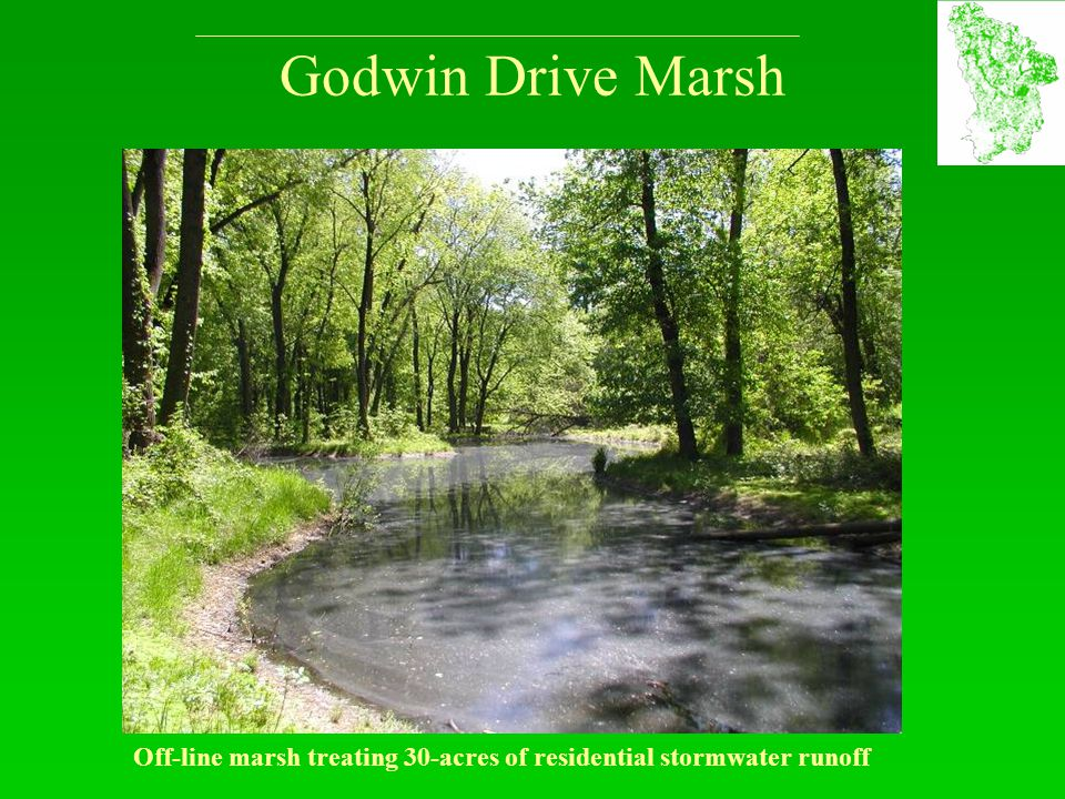 Godwin Drive Marsh Off-line marsh treating 30-acres of residential stormwater runoff