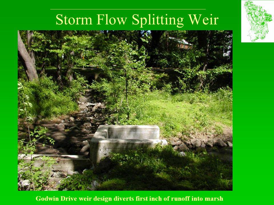 Storm Flow Splitting Weir Godwin Drive weir design diverts first inch of runoff into marsh