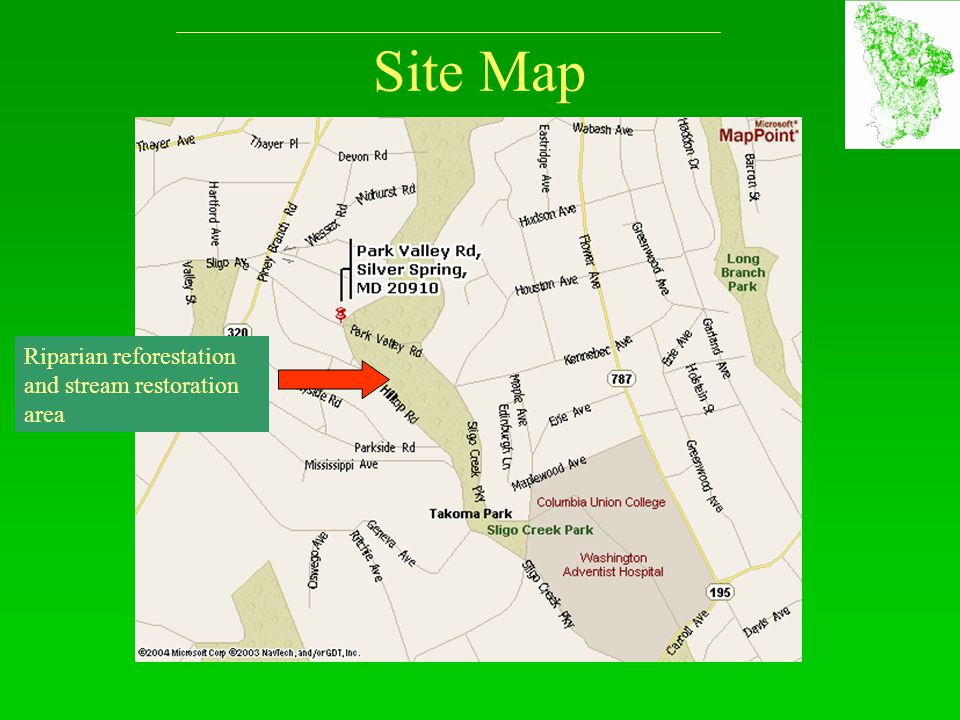 Site Map Riparian reforestation and stream restoration area