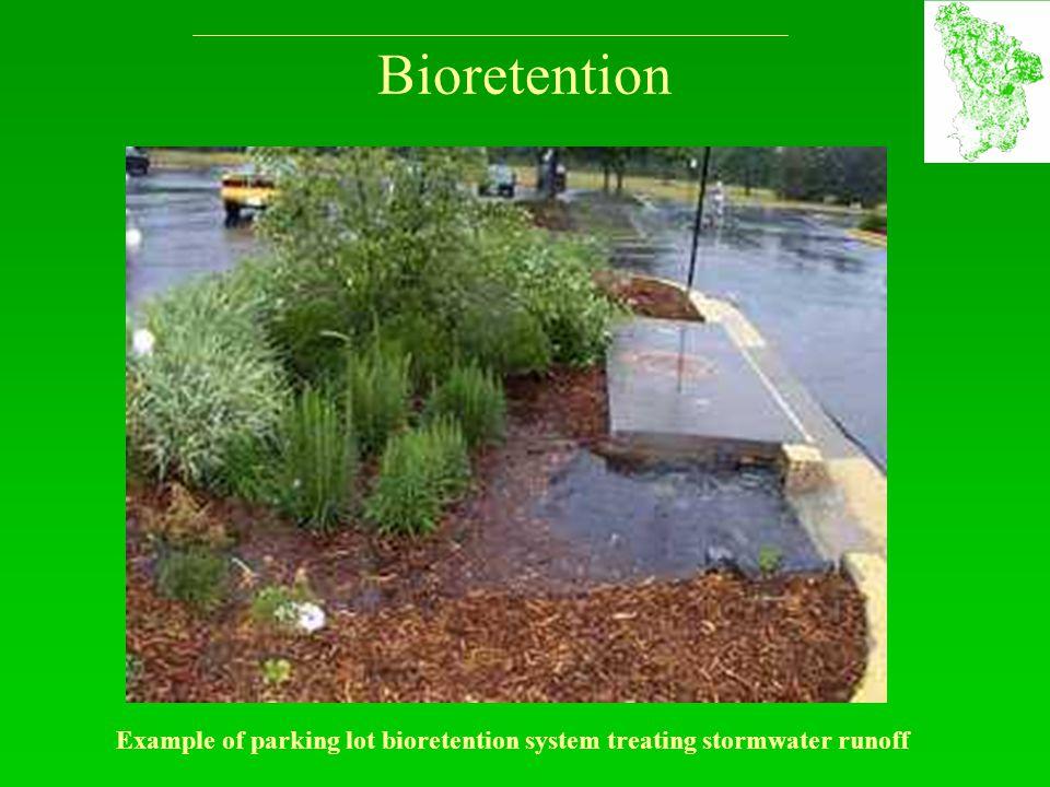 Bioretention Example of parking lot bioretention system treating stormwater runoff