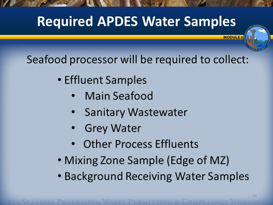 Seafood processor will be required to collect: Effluent Samples Main Seafood Sanitary Wastewater Grey Water Other Process Effluents Mixing Zone Sample (Edge of MZ) Background Receiving Water Samples Required APDES Water Samples 14