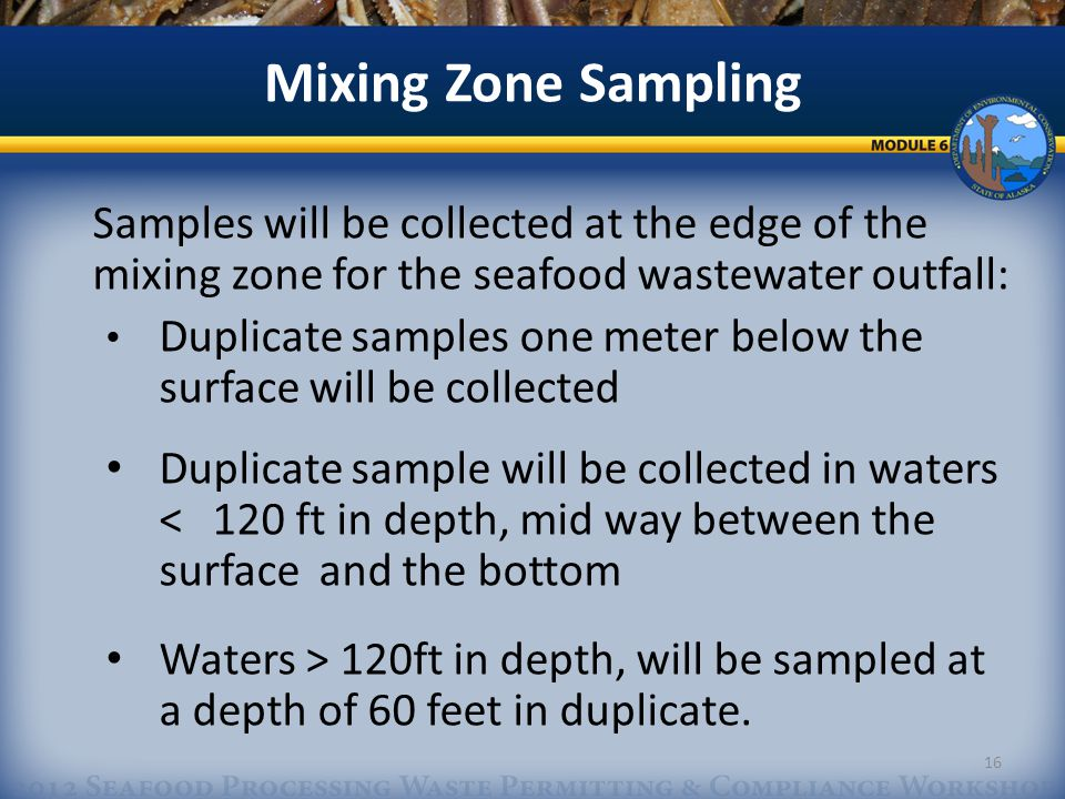 Samples will be collected at the edge of the mixing zone for the seafood wastewater outfall: Duplicate samples one meter below the surface will be collected Duplicate sample will be collected in waters < 120 ft in depth, mid way between the surface and the bottom Waters > 120ft in depth, will be sampled at a depth of 60 feet in duplicate.