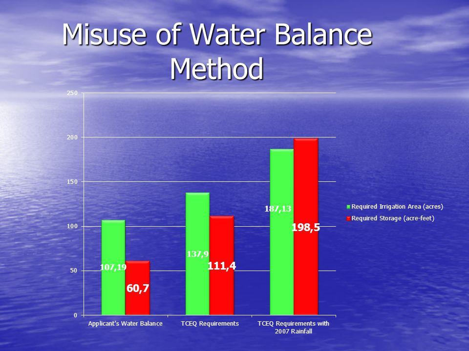 Misuse of Water Balance Method