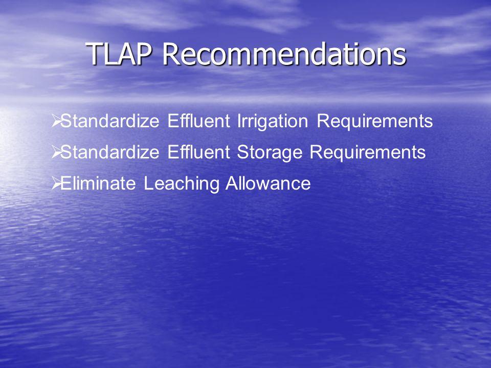 TLAP Recommendations  Standardize Effluent Irrigation Requirements  Standardize Effluent Storage Requirements  Eliminate Leaching Allowance