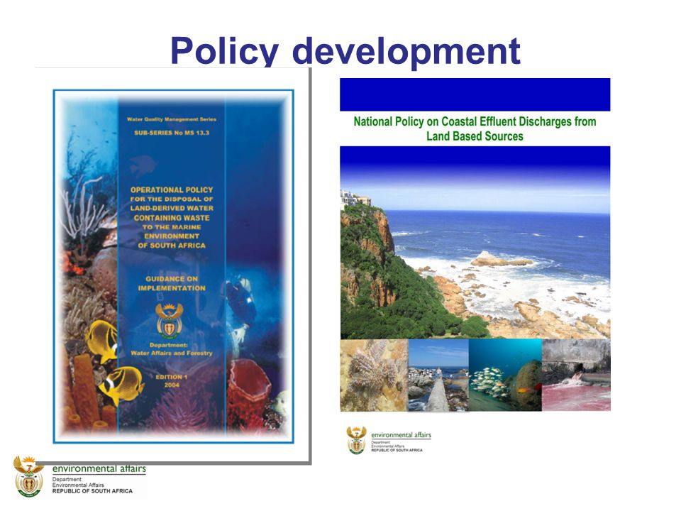 Reason for the updating Old yet very useful document Legislative gap Shift in approach –water use management Env resource protection –Sea was not regarded as a resource under the DWA – hence no regulations developed for coastal env protection