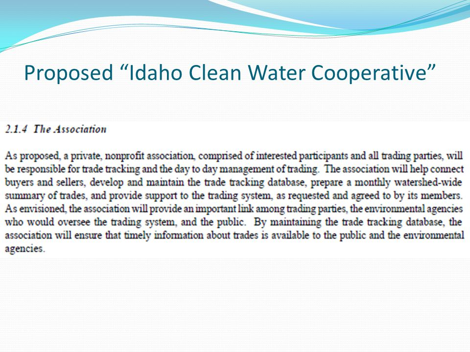 Proposed Idaho Clean Water Cooperative