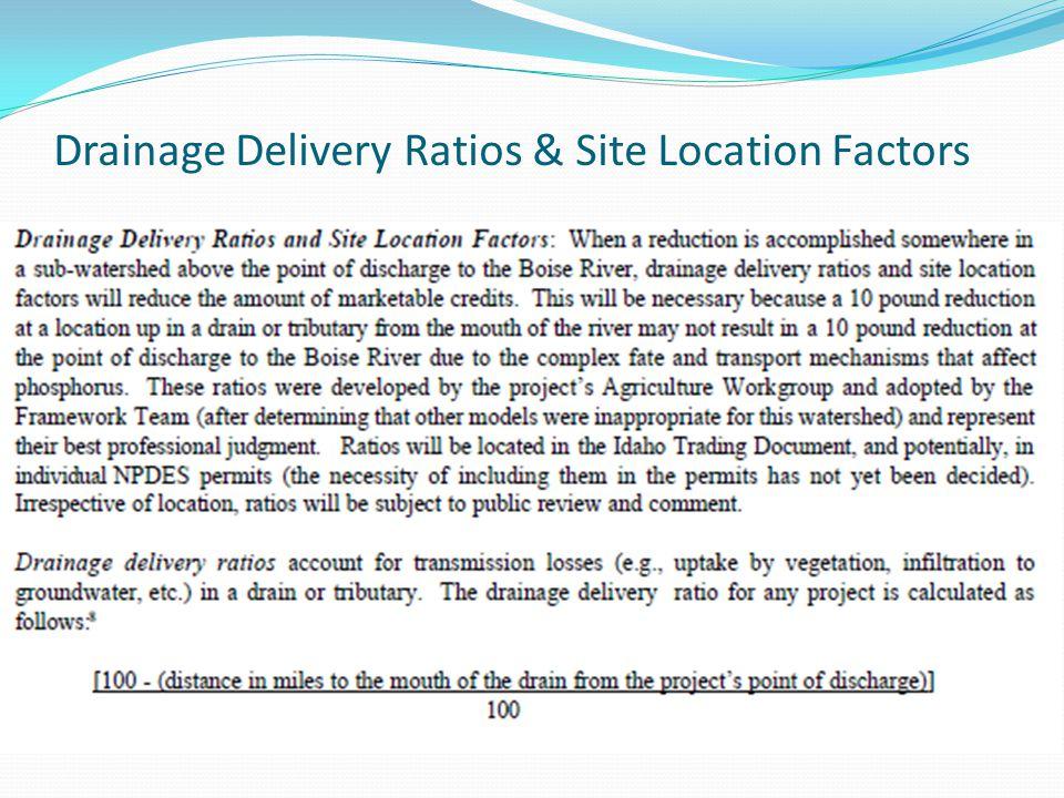 Drainage Delivery Ratios & Site Location Factors