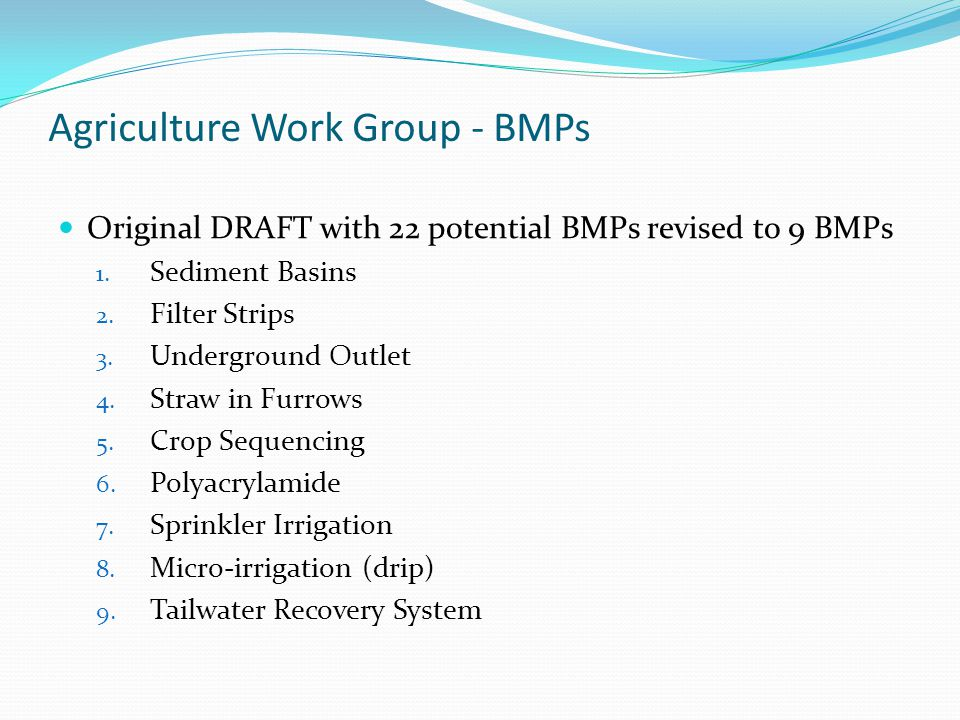 Original DRAFT with 22 potential BMPs revised to 9 BMPs 1.