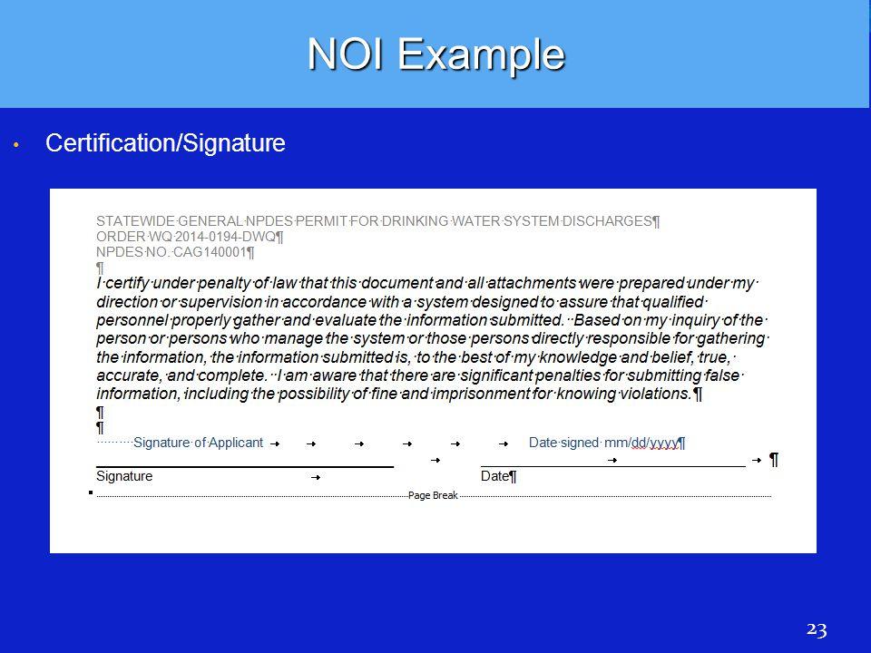 NOI Example Certification/Signature 23