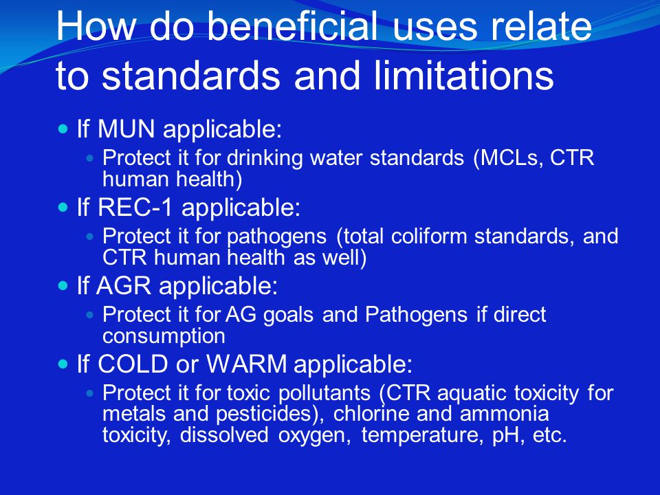 Effluent limitations are needed … …where there is a reasonable potential for the discharge to cause or contribute to an excursion above water quality standards.