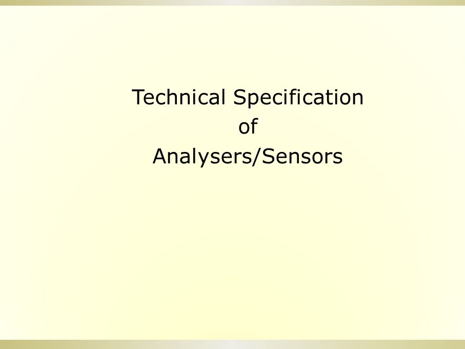 Technical Specification of Analysers/Sensors