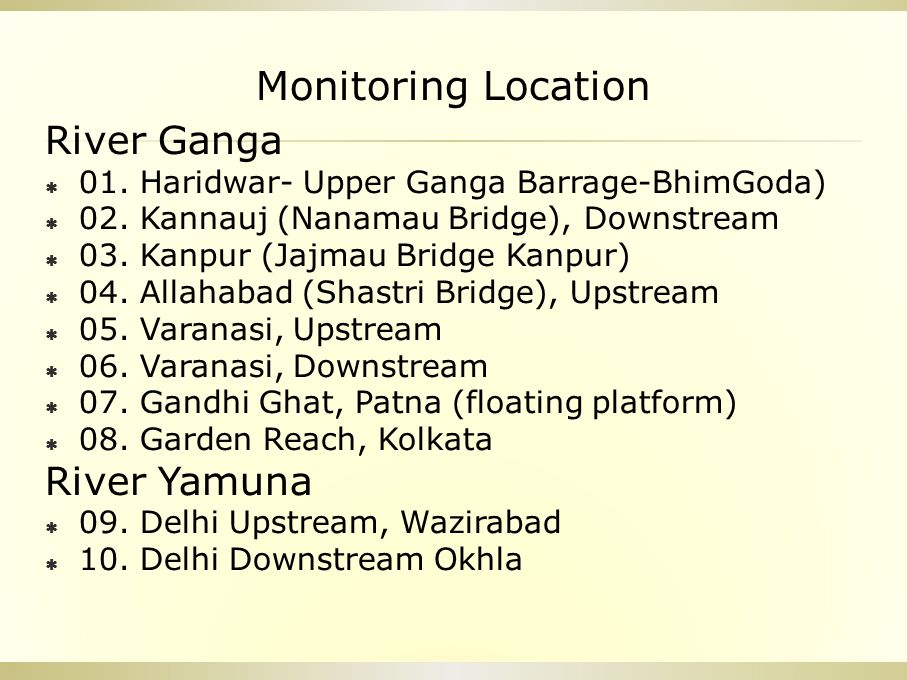 Monitoring Location River Ganga  01. Haridwar- Upper Ganga Barrage-BhimGoda)  02. Kannauj (Nanamau Bridge), Downstream  03. Kanpur (Jajmau Bridge K
