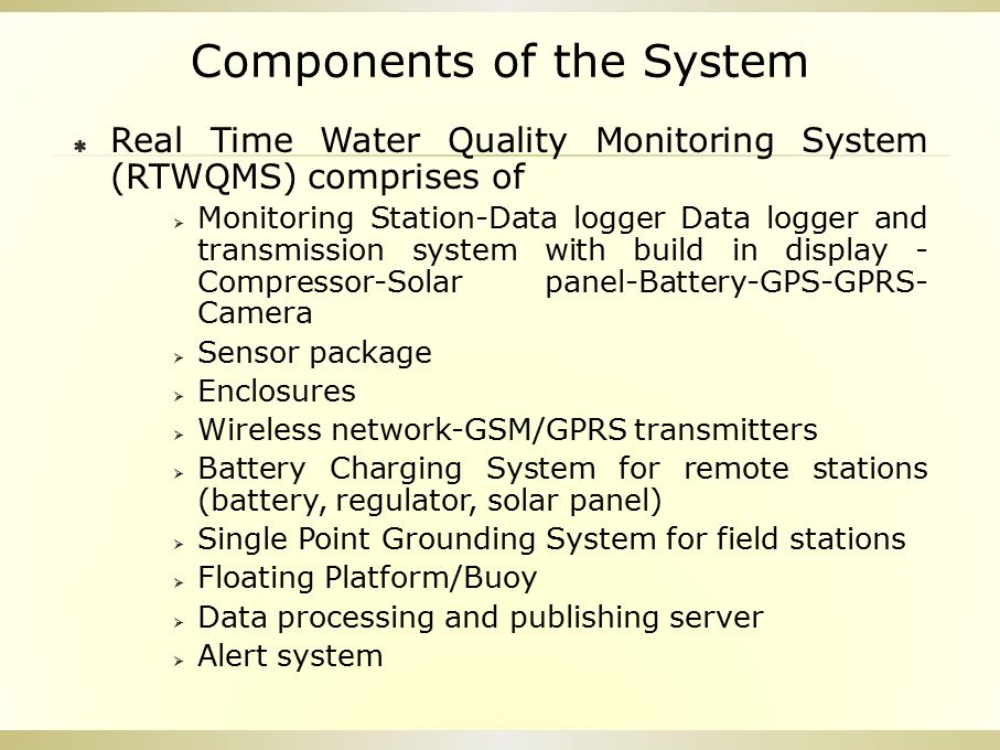 Components of the System  Real Time Water Quality Monitoring System (RTWQMS) comprises of  Monitoring Station-Data logger Data logger and transmissi