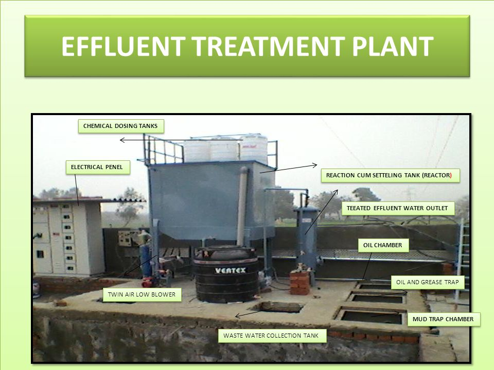 EFFLUENT TREATMENT PLANT ELECTRICAL PENEL REACTION CUM SETTELING TANK (REACTOR) CHEMICAL DOSING TANKS TEEATED EFFLUENT WATER OUTLET OIL CHAMBER OIL AND GREASE TRAP MUD TRAP CHAMBER WASTE WATER COLLECTION TANK TWIN AIR LOW BLOWER