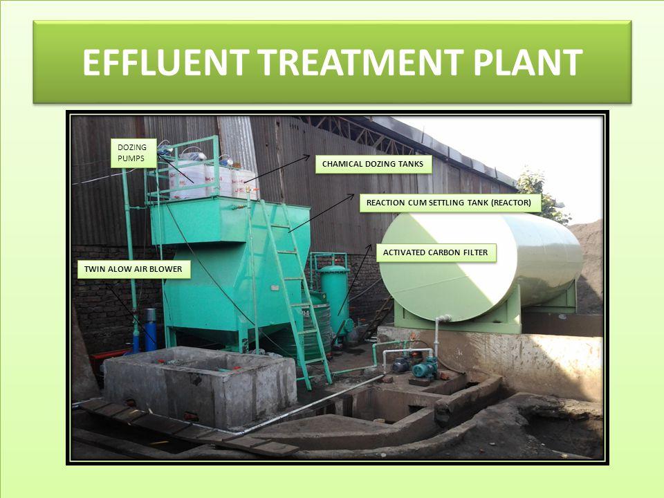 EFFLUENT TREATMENT PLANT CHAMICAL DOZING TANKS REACTION CUM SETTLING TANK (REACTOR) TWIN ALOW AIR BLOWER ACTIVATED CARBON FILTER DOZING PUMPS DOZING PUMPS