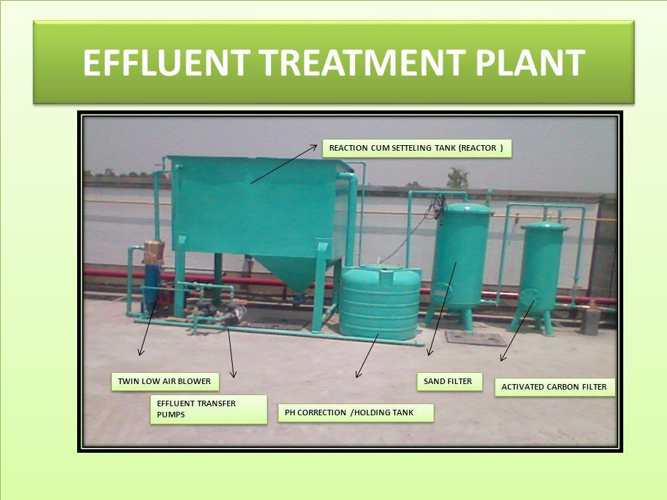 EFFLUENT TREATMENT PLANT TWIN LOW AIR BLOWER EFFLUENT TRANSFER PUMPS PH CORRECTION /HOLDING TANK SAND FILTER ACTIVATED CARBON FILTER REACTION CUM SETT