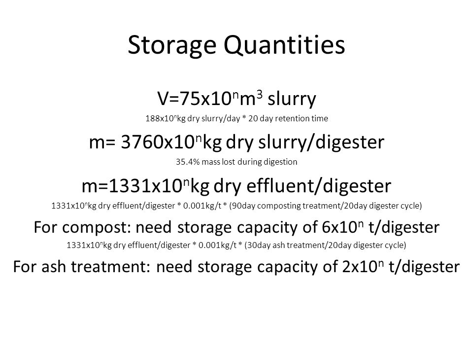 Storage Quantities V=75x10 n m 3 slurry 188x10 n kg dry slurry/day * 20 day retention time m= 3760x10 n kg dry slurry/digester 35.4% mass lost during digestion m=1331x10 n kg dry effluent/digester 1331x10 n kg dry effluent/digester * 0.001kg/t * (90day composting treatment/20day digester cycle) For compost: need storage capacity of 6x10 n t/digester 1331x10 n kg dry effluent/digester * 0.001kg/t * (30day ash treatment/20day digester cycle) For ash treatment: need storage capacity of 2x10 n t/digester