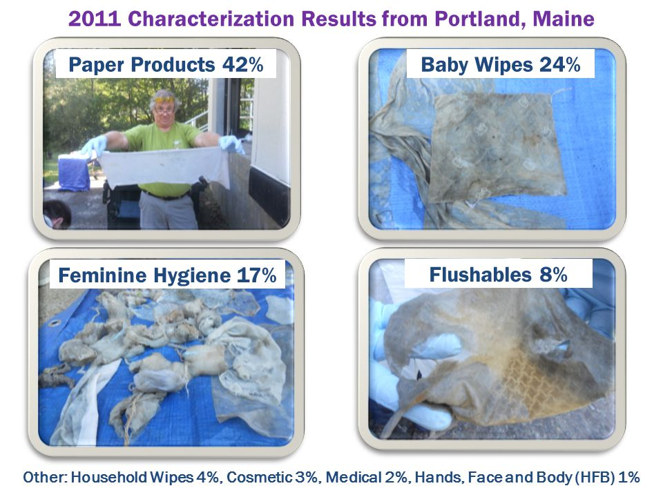 Paper Products 42%Baby Wipes 24% Feminine Hygiene 17% Flushables 8% Other: Household Wipes 4%, Cosmetic 3%, Medical 2%, Hands, Face and Body (HFB) 1% 2011 Characterization Results from Portland, Maine
